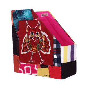 Indha Craft MDF Cotton Patchwork Owl Embroidery Multicolour Table Top Book/Magazine Holder