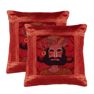 Indha Craft Rajasthani Man Face Hand Embroidered Cushion Cover Pack of 2