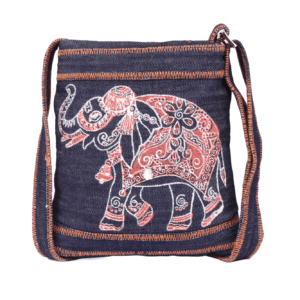 Indha Craft Denim Elephant Hand Block Printed Blue Colour Sling Bag for Girls/Women