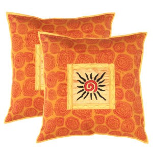 Indha Craft Cotton Hand Embroidered with Ethnic Block Print Cushion Cover Set of 2