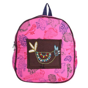 Indha Craft Hand Block Printed Pink Colour Small Kids School Bag