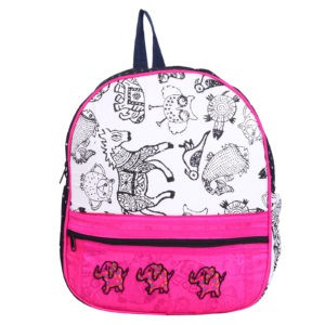 Indha Craft Elephant Embroidery in Pink Colour Small Kids Bag