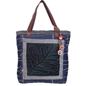 Indha Craft Tote Bag Denim Zig-Zag Leaf Embroidery