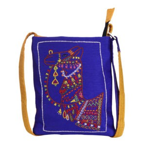 Indha Craft Exquisite Camel Hand Embroidered Navy Blue Colour Sling Bag for Girls/Women