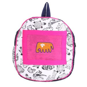 Indha Craft White Colour Animal Hand Block Printed Small Kids Bag