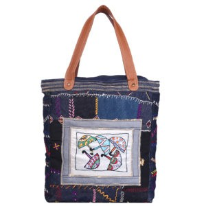 Indha Craft Denim Tote Bag Umbrella hand Embroidery Blue Colour