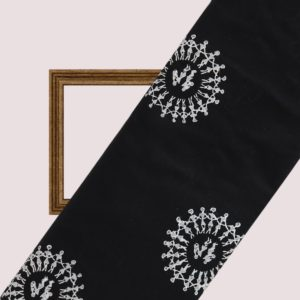 Indha Craft Hand Block Printed Cotton Fabric Black