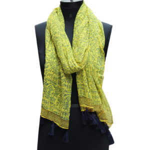 Indha Craft Yellow Colour Cotton Hand Block Printed Stole for Girls/Women