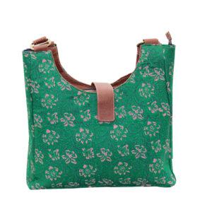 Indha Craft Green Colour Cotton Hand Block Printed Shoulder Bag for Girls/Women