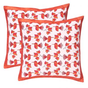 Indha Craft Cotton Hand Block Printed Cushion Cover (Set of 2)