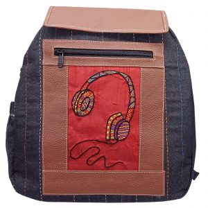 Indha Craft Headphone Embroidered Black Colour Denim Backpack Bag