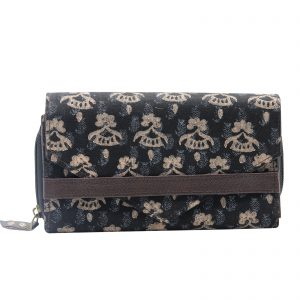 Indha Craft Cotton Hand Block Printed Black Colour Clutch Purse for Girls/Women