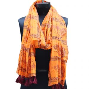 Indha Craft Cotton Hand Block Printed Stole for Girls/Women