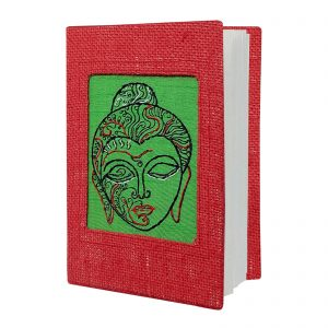 Red Colour Jute Lord Buddha Face Hand Embroidered Diary