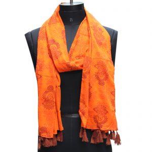 Indha Craft Hand Block Printed Orange Colour Cotton Stole for Girls/Women