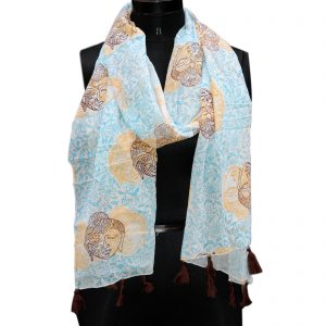 Indha Craft Printed Pure Cotton Stole for Girls/Women