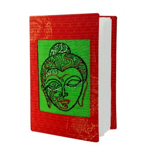 Red Colour Cotton Hand Block Printed Lord Buddha Face Hand Embroidered Diary