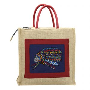 Indha Craft 12″ Red Indian Face Hand Embroidered Jute Lunch Bag/Tiffin Bag