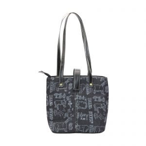 Indha Craft Hand Block Printed Black Denim Handbag for Girls/Women