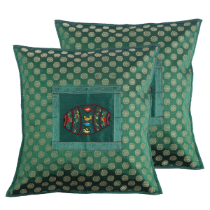 Indha Craft Bottle Green Dholak Embroidered 16″ Cushion Cover (Pack of 2)