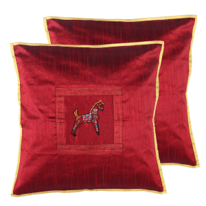 Indha Craft Maroon Colour Dupion Silk Horse Embroidered 16″ Cushion Cover (Pack of 2)