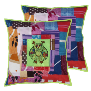 Indha Craft Cotton Patchwork Owl Embroidered 16″ Cushion Cover (Pack of 2)