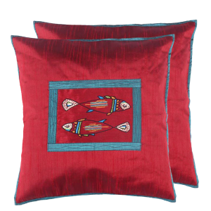 Indha Craft Maroon Colour Dupion Silk Fish Embroidered Cushion Cover (Pack of 2 )