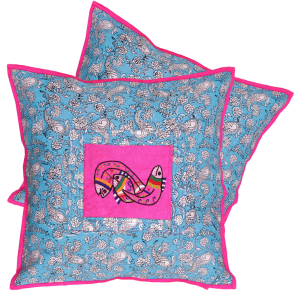 Indha Craft Jaipuri Hand Block Printed with Fish Embroidered 16″ Cushion Cover (Set of 2)