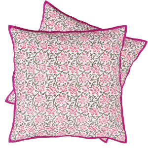 Indha Craft 16″ Cotton Flower Hand Block Printed Cushion Cover (Pack of 2 )