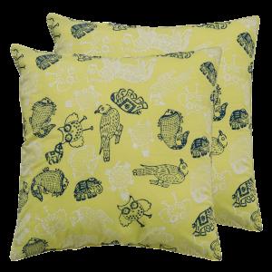 Indha Craft Lemon Green Cotton Animal Block Printed 16″ Cushion Cover (Pack of 2)