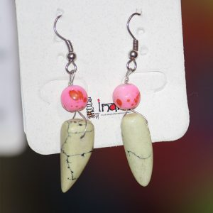 Indha Craft Offwhite and Pink Handmade Beaded Glass Drops & Ear Danglers