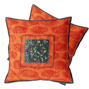 Indha Craft 16″ Mridang Block Printed Orange Colour Cotton Cushion Cover (Pack of 2)