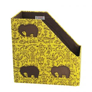 Indha Craft Cave Block Printed Yellow Colour Single Compartment Magazine Holder