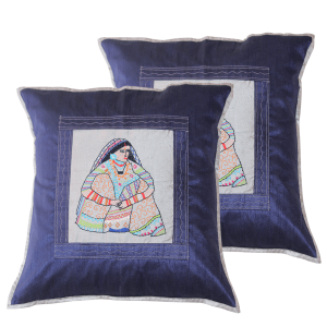 Indha Craft Women Hand Embroidered Navy Blue Colour Cushion Cover Set of 2