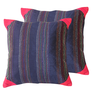 Indha Craft Kantha Work Embroidered 16″ Cushion Cover (Pack of 2)