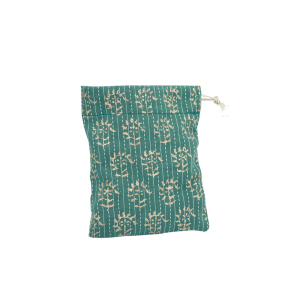 Indha Craft Green Colour Cotton Hand Block Printed Small Gift Pouches (Pack of 5 )