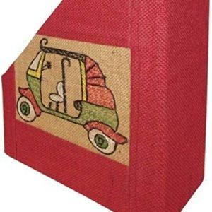 Indha Craft Auto Rickshaw Embroidered Jute Mdf Table Top Magazine Holder