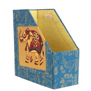 Indha Craft Elephant Hand Block Printed Table Top Magazine Holder