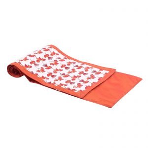 Indha Craft Orange Colour Cotton Bird with Flower Hand Block Printed 6 Seater Table Runner