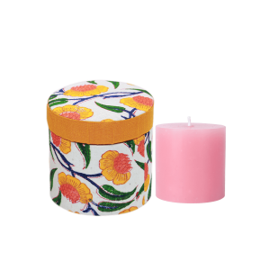 Indha Fragrance Candle With Round Shaped Block Printed Gift Box