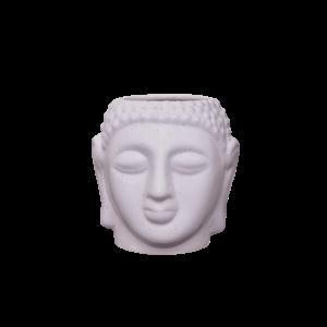 Indha White Ceramic Buddha Face Planter,Flower Pot, an Ideal Diwali Gift