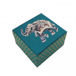Indha Craft Elephant Hand Block Printed Green Colour Gift Box