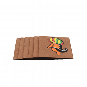 Indha Brown Colour Wooden Handpainted (Royal Personage) Coaster Set (Pack of 6)