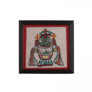 Indha Lord Jagannath Embroidered Motif Table Top Wooden Photo Frame for home/office