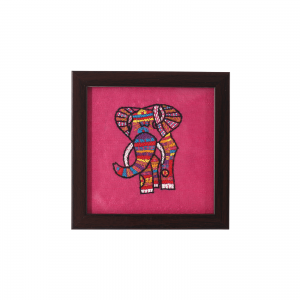 Indha Craft Elephant Hand Embroidered Square Wood, Glass Coaster