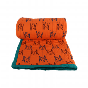 Indha Orange Colour Cotton Hand Block Printed Double Bed Quilt
