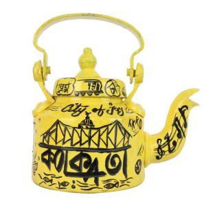 Indha Kolkata City of Joy Yellow Colour Aluminum Handpainted Tea/Coffee Kettle/Decorative Kettle