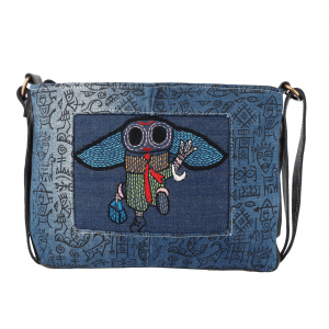 Sling Bag Block Printed Denim with Artificial Leather