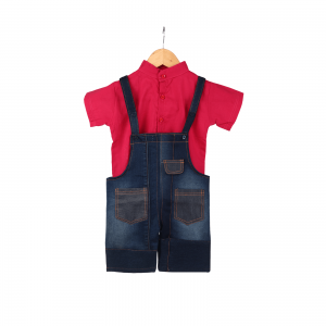 Indha Blue Colour Denim Dungaree with Pink Cotton Inner Shirt Set for Kids/Dungaree for Kids