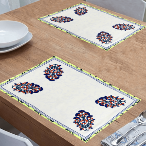 Indha White Colour Cotton Hand Block Printed Dining Table Mat (Pack of 6)